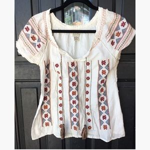 """Lucky Brand """"Live in Love"""" Embroidered Blouse"""